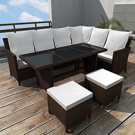 LD Poly Rattan Gartenmöbel Gartenset 8 Personen Lounge Sitzgruppe Gartengarnitur braun
