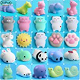Mochi Squishy Cat Toy, Outee 25 Pcs Relief Stress Squishy Cat Random Squishy Stress Relief Animals Mochi Squishy Toys Mini Squishy Animals Stress Toys Cat Mini Stress Squishies Mini Stress Toys