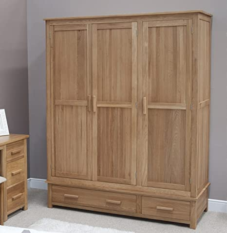 Eton solid oak furniture large triple bedroom wardrobe