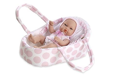 Arias 33cm ELEGANCE Natal Poupée à pois bébé Transport dans un sac (Rose)