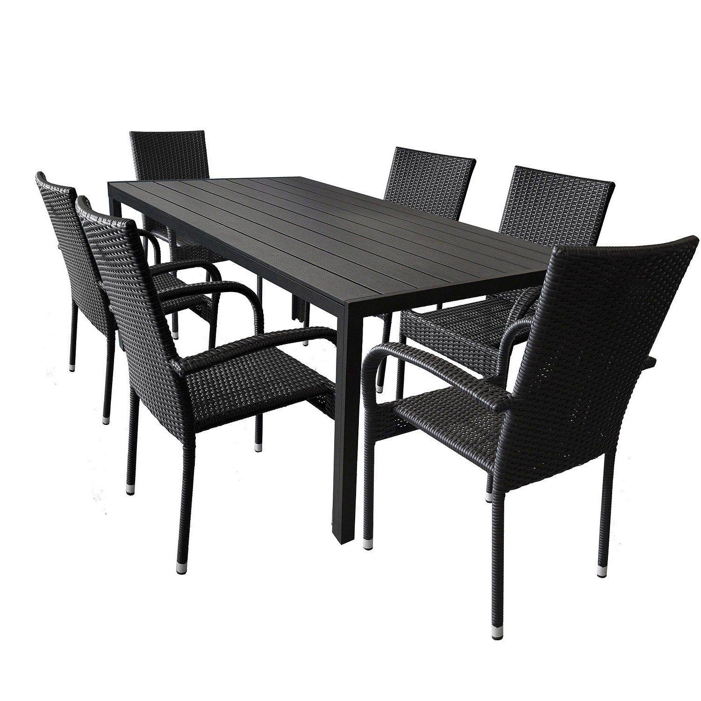 wohaga 7tlg gartengarnitur aluminium gartentisch mit schwarzer polywood tischplatte 205x90cm. Black Bedroom Furniture Sets. Home Design Ideas