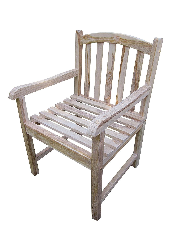 GARDENho.me Schwerer Teak Stuhl Oakland White Wash mit Armlehne Gartenstuhl günstig