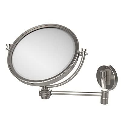 Allied Brass WM-6D/4X-SN 8-Inch Wall Mirror with 4x Magnification, Extends Up to 14-Inch, Satin Nickel