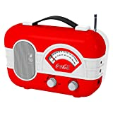 Coca-Cola Retro Desktop Vintage Style Am/FM Battery Operated Radio with Auxillary Input Red/White (Renewed) (Color: red)