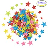 Foam Glitter Stickers Self Adhesive, Stars Shapes for Kid's Arts Craft Supplies Greeting Cards Home Decoration (260 Pieces)
