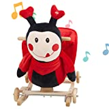 Lucky Tree Child Rocking Horse Toy 2 in 1 Wooden and Plush Riding Rocker with Wheel Ladybug Animal Ride on for Kids Baby Toddlers (Color: Ladybug)