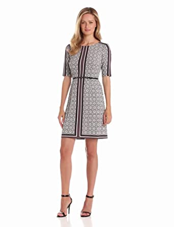 Donna Morgan Women's Elbow Sleeve Fit 'N' Flare Dress with Belt, Black Multi, 16