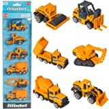BonBon Construction Toy Cars Functioning Tools 6 Pack! Die Cast Model Cars! Bulldozer, Cement Truck, Forklift, Crane, Roller Truck, Dump Truck! Assorted 1:64 Model Cars (Color: Yello0w)