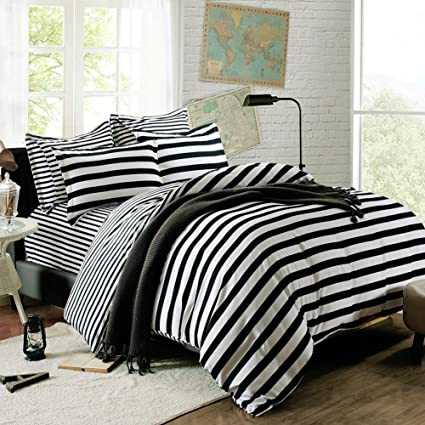 QzzieLife High Quality Microfiber 1500T 4pc Bedding Duvet Cover Sets Striped Black White Size Queen