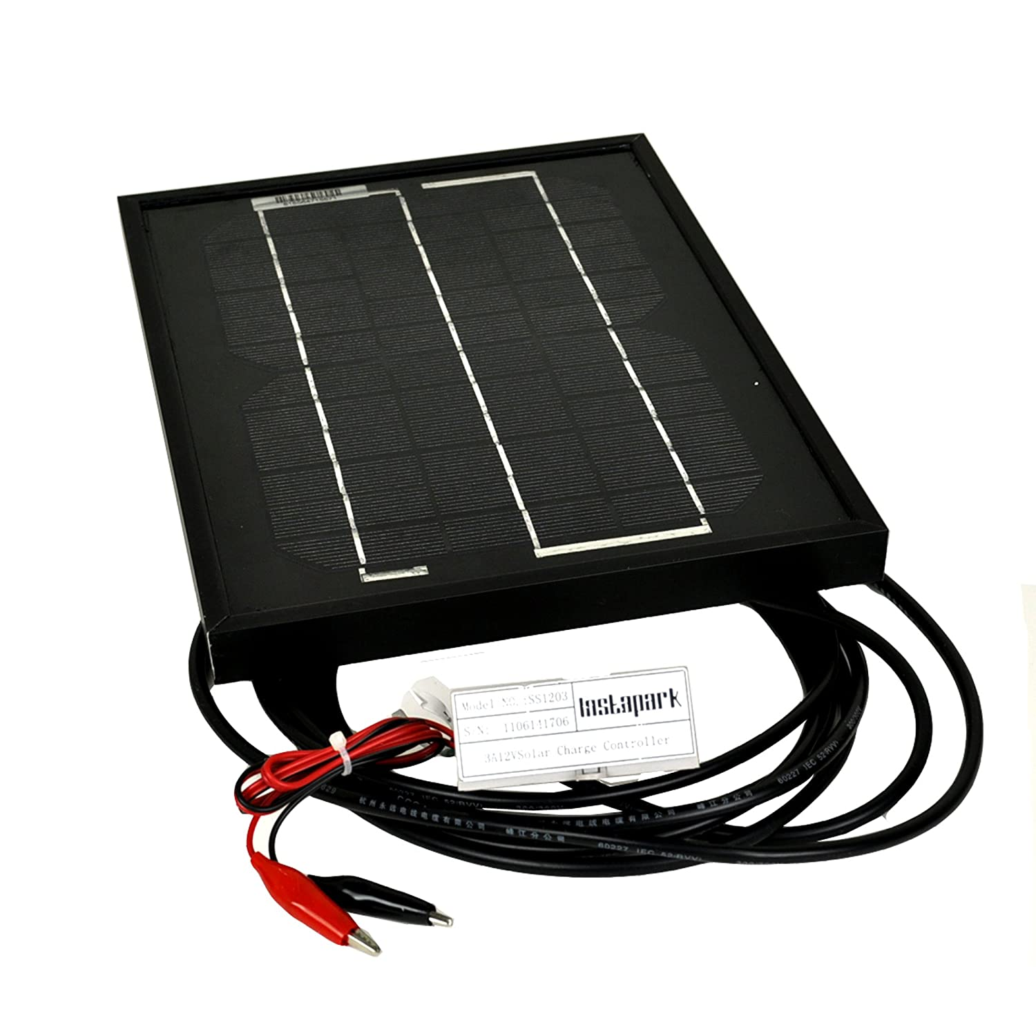 Instapark® NEW All Black 5W Mono-crystalline Solar Panel with 12V Solar Charge Controller $32.75