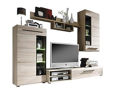 Furnline Skin Roughly Sawn TV Stand Wall Unit Living Room Furniture Set, Light Oak