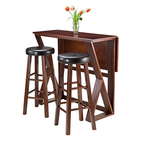 Winsome 3-Piece Harrington Drop Leaf High Table with 2 Cushion Round Seat Stools, 29-Inch, Brown