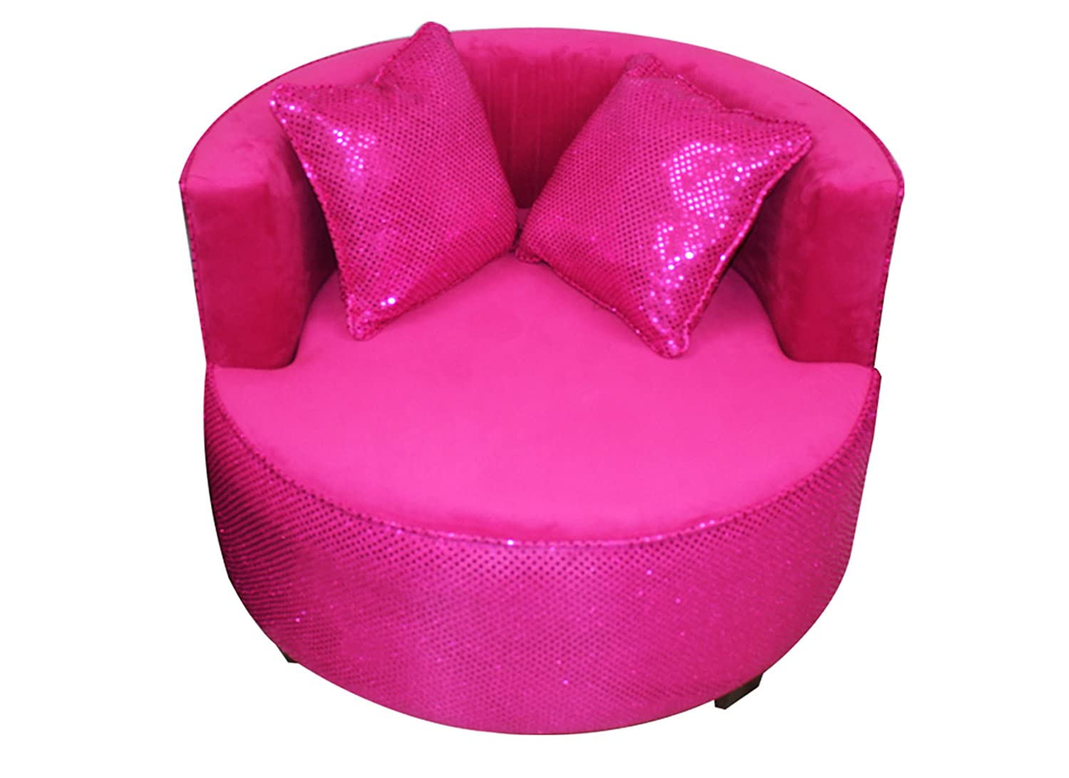 Newco Kids Redondo Tween Chair, Hot Pink Velvet with Hot Pink Sequins