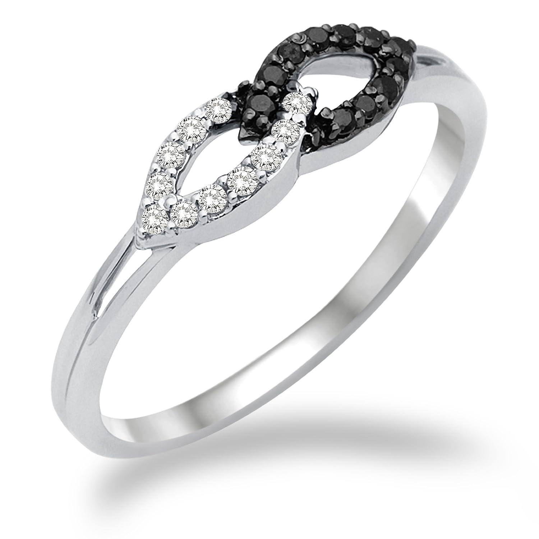 Miore Damen-Ring 750 Weißgold mit weiß und Schwarzen Brillanten MF8016RM online kaufen