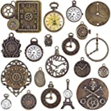 BronaGrand 20pcs Mixed Antiqued Bronze Charms Clock Face Charm Pendant, DIY Crafts, Gears, Jewelry Making, Steampunk Pendants