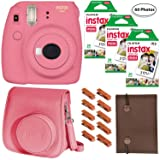 Fujifilm Instax Mini 9 (Flamingo Pink), 3X Instax Film (60 Sheets), Groovy Case, Accordion Album and Hanging Pegs (Color: Flamingo Pink)