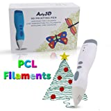 3D Printing Pen 3D Drawing Pen PCL Filaments Art and Craft Doodler Low Temperature Safe for Kids Modeling Pen Wireless USB Charging Clog Free Arty3D White (Color: White)