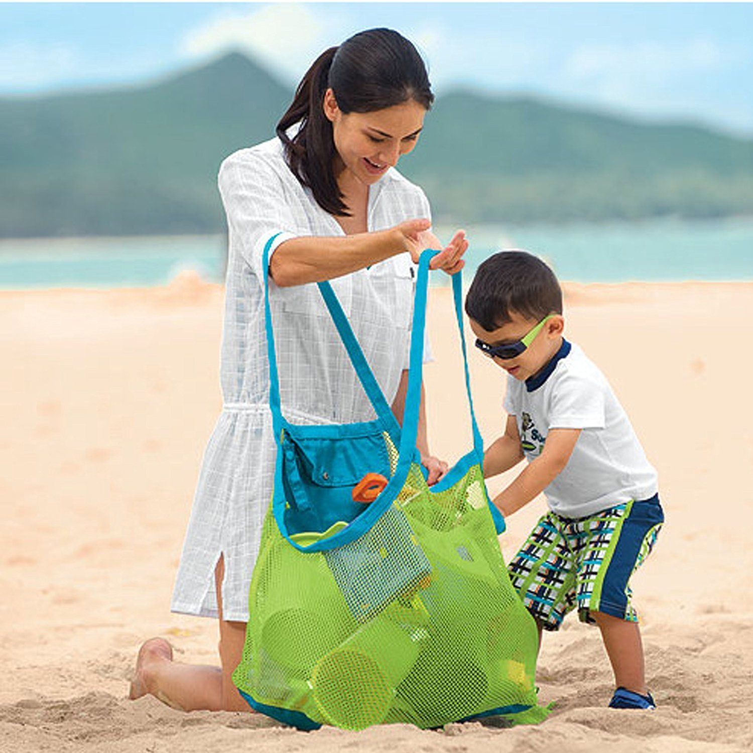 CITY Sand Away Beach Mesh Bag Tote sand away beach treasures Starfish shell bag Toys Kids Sandboxes lace shell starfish beach anklets