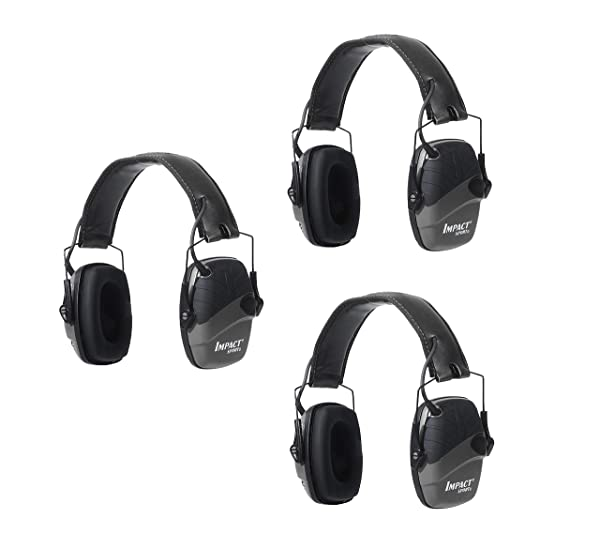 Howard Leight by Honeywell Impact Sport Sound Amplification Electronic Shooting Earmuff, Classic Green (R-01526) (Black, (3-Pack)) (Color: Black, (3-pack))