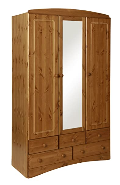 Furniture To Go Aviemore 3-Door 5-Drawer Robe with Mirror, 192 x 121 x 49 cm, Antique Pine
