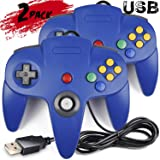 2 Pack iNNEXT Classic Retro N64 Bit USB Wired Controller for Windows PC MAC Linux Raspberry Pi 3 (Blue)
