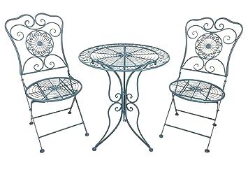 """Gartenmöbel-Set """"Murcia"""" bestehend aus einem Tisch und zwei Stuhlen aus Metall im Landhaus-Stil, Antikblau fur Haus und Garten, Durchmesser 60cm"""