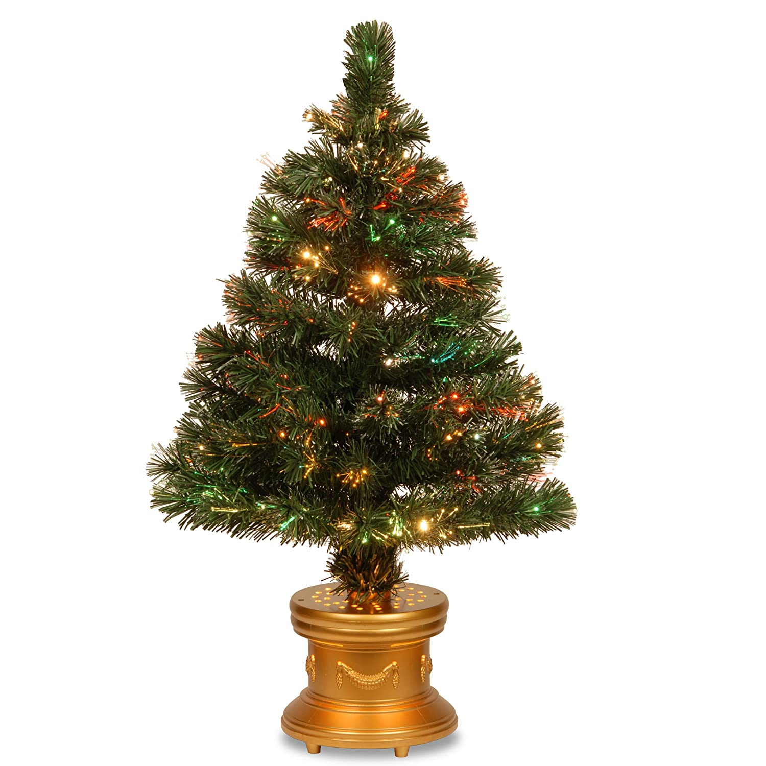 Christmas Tree Fiber Optic With Lights And Decorative Base