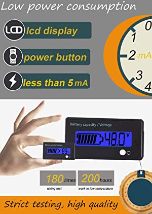 Multifunctional Battery Capacity Monitor 48V LCD Battery Fuel Gauge Indicator Meter for Lead-Acid Battery Motorcycle Golf Cart Car, Blue (Color: Multifunction-Blue)