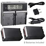 Kastar LCD Dual Fast Charger + 2 Battery for Sony BP-U90, BPU90 and PMW-100, PMW-150, PMW-160, PMW-200, PMW-300, PMW-EX1, EX3, PMW-EX160, PMW-EX260, PMW-EX280, PMW-F3, PXW-FS5, PXW-FS7, PXW-FX9K (Tamaño: 1 dual charger + 2 batteries)