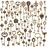 KeyZone Wholesale 70 Pieces Antique Bronze Vintage Skeleton Mixed Key Charms DIY Necklace Pendant for Handmade Jewelry Making (Color: 70 Pieces)