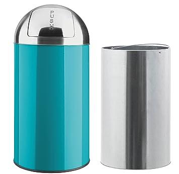 40l 50l m lleimer push von opixeno t rkis blau abfalleimer papierkorb mit abnehmbarem. Black Bedroom Furniture Sets. Home Design Ideas