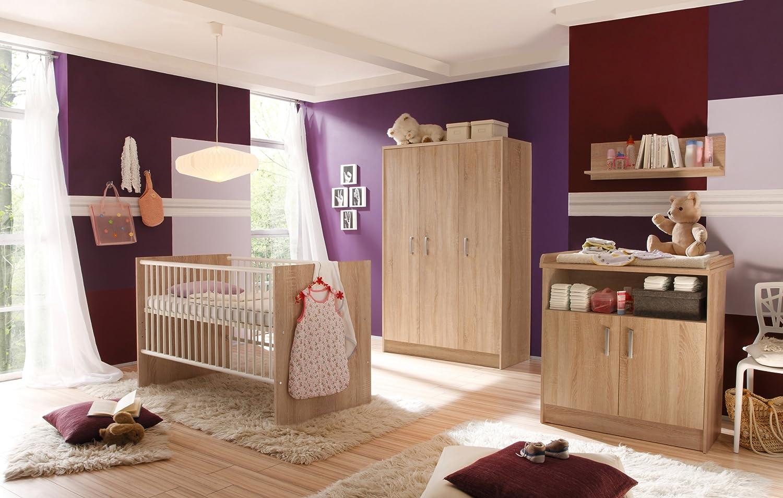 Babyzimmer mit Bett 70 x 140 cm Eiche sägerau/ weiss