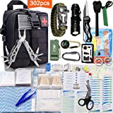 Monoki First Aid Survival Kit, 302Pcs Tactical Molle EMT IFAK Pouch Outdoor Gear EDC Emergency Survival Kits First Aid Kit Trauma Bag for Hiking Camping Hunting Car Boat Travel or Adventures (Black) (Color: Black)
