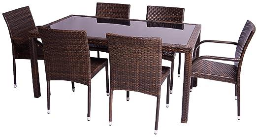 Gartenmöbelgruppe Polywood Rattan Set 7-teilig in braun sechs Sessel ein Tisch 160x90 cm