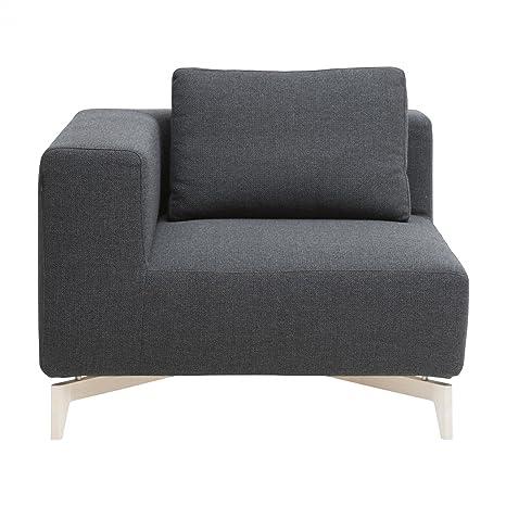 Softline Passion Sofa-Eckelement 98x98cm, dunkelgrau Stoff Vision 439 Gestell Eschenholz inkl. 1 Ruckenkissen 62x45cm