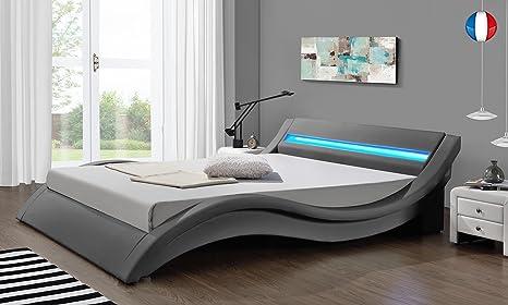 Hypnia - Lit Design LED gris - 140 x 190 (cm)