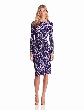 Jones New York Women's Long Sleeve Print Dress, Amethyst/Multi, 6