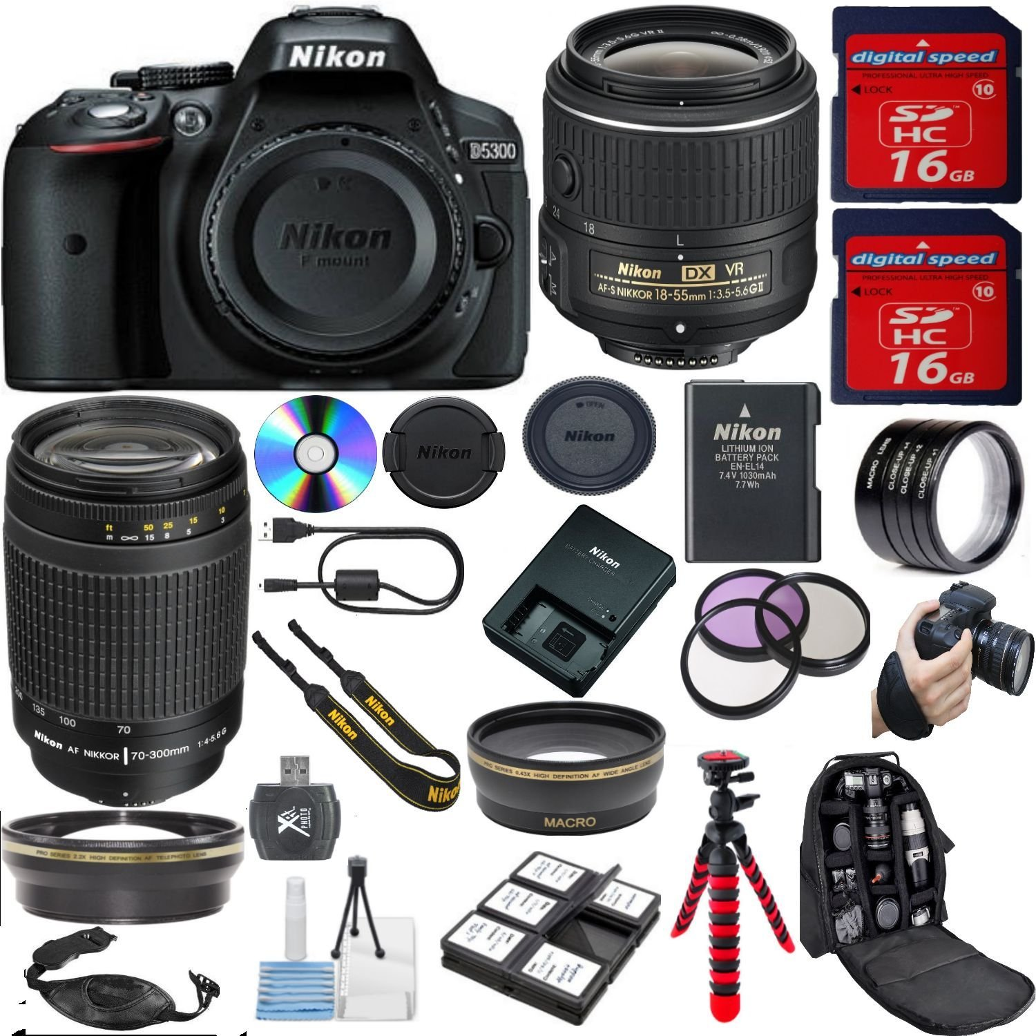 Nikon D5300 DSLR Camera + 18-55mm VR + 70-300mm G Zoom + 32GB Memory + 18pc Bundle Kit