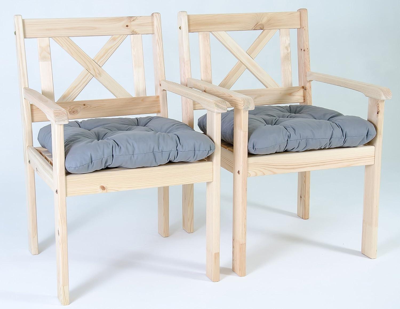 GARDENho.me 2er Set Massivholz Sessel Gartenstuhl Stuhl EVJE inkl. Kissen Natur jetzt bestellen