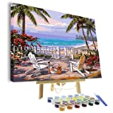 VIGEIYA DIY Paint by Numbers for Adults Include Framed Canvas and Wooden Easel with Brushes and Acrylic Pigment 15.7x19.6inch (Beach) (Color: beach, Tamaño: 15.7*19.6in)