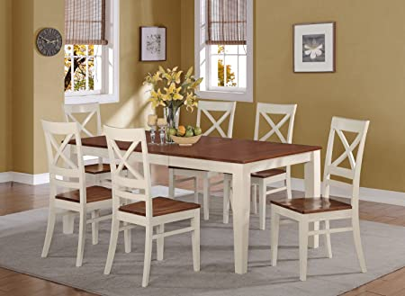 East West Furniture QUIN7-WHI-W 7-Piece Formal Dining Table Set, Buttermilk/Cherry Finish