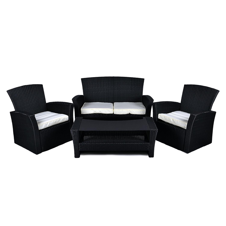 Rattan Set 4tlg mit Glastisch creme Garnitur Gartenmöbel Lounge Sitzgruppe Möbel jetzt kaufen