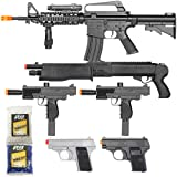 BBTac Airsoft Gun Package - Black Ops - Collection of Airsoft Guns - Powerful Spring Rifle, Shotgun, Two SMG, Mini Pistols and BB Pellets, Great for Starter Pack Game Play (Color: black)