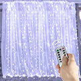10 Ft. LED Window Curtain Icicle Lights with Remote & Timer, 300-LED Fairy Twinkle String Lights with 8 Modes Fits for Bedroom Wedding Party Backdrop Outdoor Indoor Wall Decoration, Pure White (Color: Pure White String, Tamaño: 10 ft)