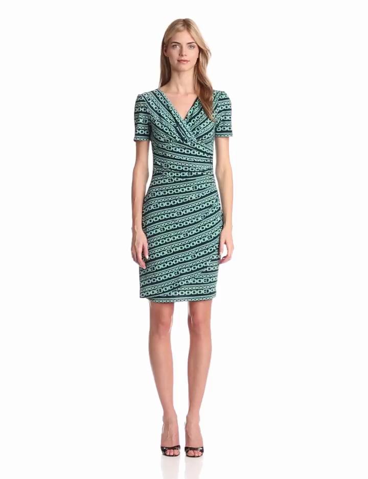 Evan Picone Womens Elbow Sleeve Print Dress