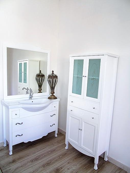 mobile bagno lavabo shabby chic massello contemporaneo + colonna bagno con cassetti
