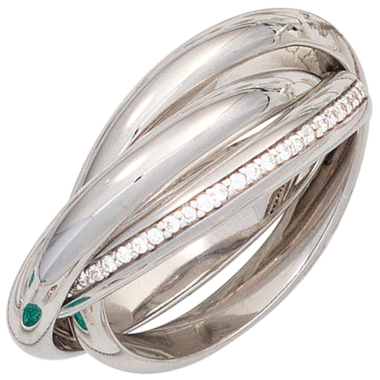 Damen Ring 925 Sterling Silber rhodiniert 64 Zirkonia jetzt kaufen
