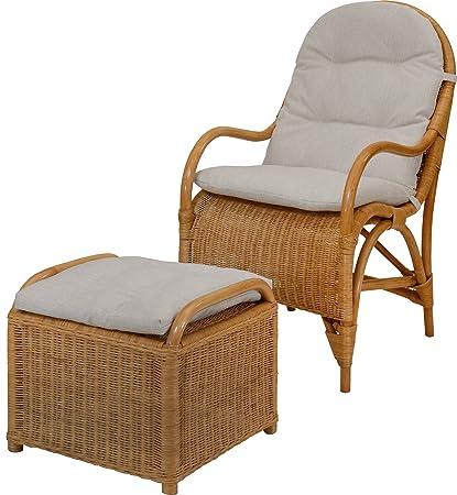 Bequemer Relax-Sessel inkl. Hocker & Polster in der Farbe Honig, Fernsehsessel aus Natur-Rattan