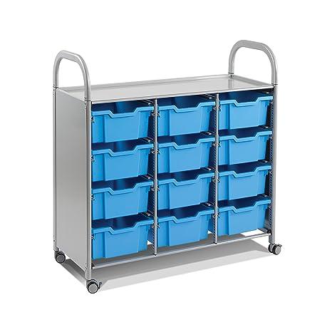 Gratnells Callero Deep Tray Treble Width Storage Trolley Unit (Silver frame)