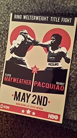 Manny Pacquiao vs Floyd Mayweather Jr 8x10 Throwback Boxing Fight Poster